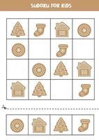 sudoku med pepparkakor för jul. pussel för förskolebarn. vektor