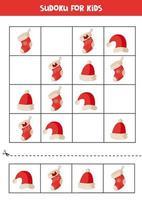 Sudoku-Puzzle für Kinder mit Weihnachtselementen. vektor