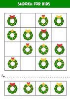 Sudoku-Spiel mit verschiedenen Weihnachtskränzen. Arbeitsblatt für Kinder. vektor