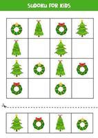 sudoku-pussel för barn med julkransar och träd. vektor
