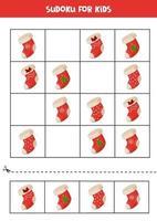 sudoku spel för barn. uppsättning julstrumpor. vektor