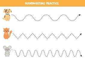 Verfolgen Sie die Linien mit Hauskatze, Hund und Maus. vektor