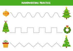 Schreibfertigkeiten üben. Linien mit Weihnachtsbaum und Weihnachtselementen verfolgen. vektor