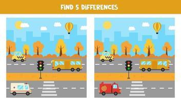 finde 5 Unterschiede zwischen Bildern. Transportmittel. vektor