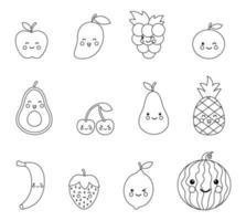 målarbok med söta kawaiifrukter och bär. uppsättning svarta och vita frukter. vektor