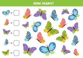 Zählspiel mit niedlichen bunten Schmetterlingen. Mathe-Arbeitsblatt. vektor