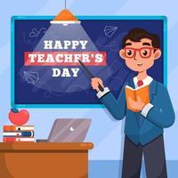 glücklicher Lehrertag mit Klassenzimmerhintergrund vektor