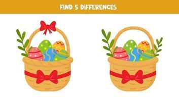 finde 5 Unterschiede zwischen Bildern. Osterkörbe. vektor