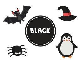 schwarze Farbe für Kinder im Vorschulalter lernen. pädagogisches Arbeitsblatt. vektor