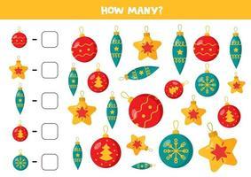 räkna spel för barn. uppsättning färgglada julgranskulor. vektor