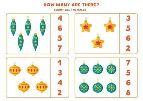 räkna spel för barn. matematik kalkylblad med julgranskulor. vektor