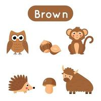 flash-kort med föremål i brun färg. pedagogiskt utskrivbart kalkylblad. vektor