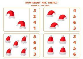 räkna alla jultomtenhattar. matematikspel för barn. vektor