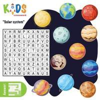 Kreuzworträtsel der Wortsuche des Sonnensystems vektor
