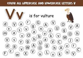 hitta och färga alla bokstäver v. alfabetspel för barn. vektor