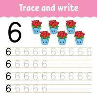 lär dig nummer 6. spåra och skriva. vintertema. handstil. lära sig siffror för barn. utbildning utveckla kalkylblad. sida för färgaktivitet. isolerad vektorillustration i söt tecknad stil. vektor
