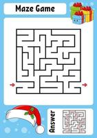 fyrkantig labyrint gåva. spel för barn. vintertema. rolig labyrint. utbildning utveckla kalkylblad. aktivitetssida. tecknad stil. gåta för förskolan. logisk gåta. färg vektorillustration. vektor