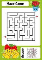 fyrkantig labyrint jul. spel för barn. vintertema. rolig labyrint. utbildning utveckla kalkylblad. aktivitetssida. tecknad stil. gåta för förskolan. logisk gåta. färg vektorillustration. vektor
