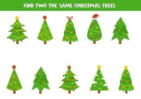 hitta två samma julgranar. logiskt kalkylblad. vektor