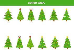 passendes Spiel für Kinder. Finde ein Paar zu jedem Tannenbaum. vektor