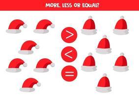 Zahlenvergleich mit Comic-Weihnachtsmannhüten. vektor