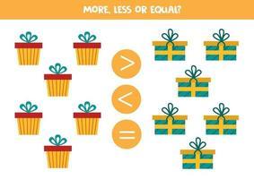 Zahlenvergleich mit Cartoon-Weihnachtsgeschenkboxen. vektor