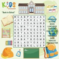 Kreuzworträtsel für die Wortsuche in der Schule vektor