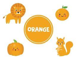 lära sig orange färg för förskolebarn. pedagogiskt arbetsblad. vektor