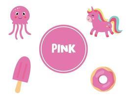 lära sig rosa färg för förskolebarn. pedagogiskt arbetsblad. vektor