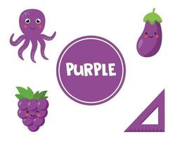lära sig lila färg för förskolebarn. pedagogiskt arbetsblad. vektor