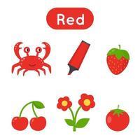 flash-kort med objekt i röd färg. pedagogiskt utskrivbart kalkylblad. vektor