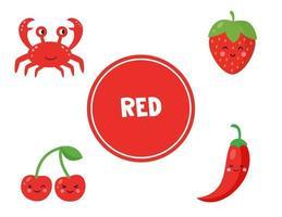lära sig röd färg för förskolebarn. pedagogiskt arbetsblad. vektor