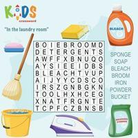 in der Waschküche Wortsuche Kreuzworträtsel vektor