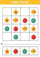 sudoku pusselspel för förskolebarn. uppsättning julgranskulor. vektor