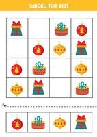 Sudoku-Spiel für Kinder. Satz Weihnachtskugeln und Geschenkboxen. vektor