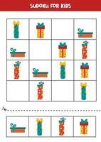 sudoku pusselspel för barn. uppsättning julklapplådor. vektor