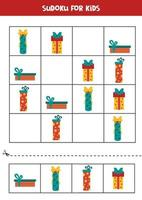 Sudoku-Puzzlespiel für Kinder. Satz Weihnachtsgeschenkboxen. vektor
