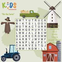 auf dem Bauernhof Wortsuche Kreuzworträtsel vektor