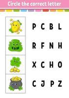 kreise den richtigen Buchstaben ein vektor