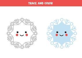 spår och färg kawaii snöflinga. skrivförmåga övning. vektor
