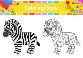 Malbuch für Kinder. Zeichentrickfigur. Vektorillustration. schwarze Kontur Silhouette. isoliert auf weißem Hintergrund. Tiermotiv. vektor