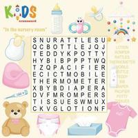 im Kinderzimmer Wortsuche Kreuzworträtsel vektor