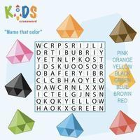 Nennen Sie das Kreuzworträtsel für die Farbwortsuche vektor