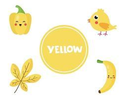 lära sig gul färg för förskolebarn. pedagogiskt arbetsblad. vektor
