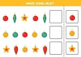 Was kommt als nächstes mit Weihnachtskugeln? Sequenz fortsetzen. vektor