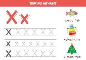 Handschriftpraxis mit Alphabetbuchstaben. Verfolgung x. vektor