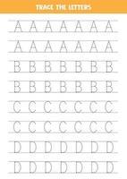 spåra bokstäver i engelska alfabetet. skrivpraxis. vektor