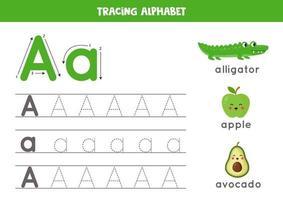 Handschriftpraxis mit Alphabetbuchstaben. Verfolgung a. vektor
