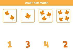 räkna alla löv och matcha med korrekta siffror. vektor