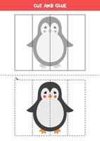 Spiel zum Schneiden und Kleben für Kinder. süßer Cartoon-Pinguin. vektor